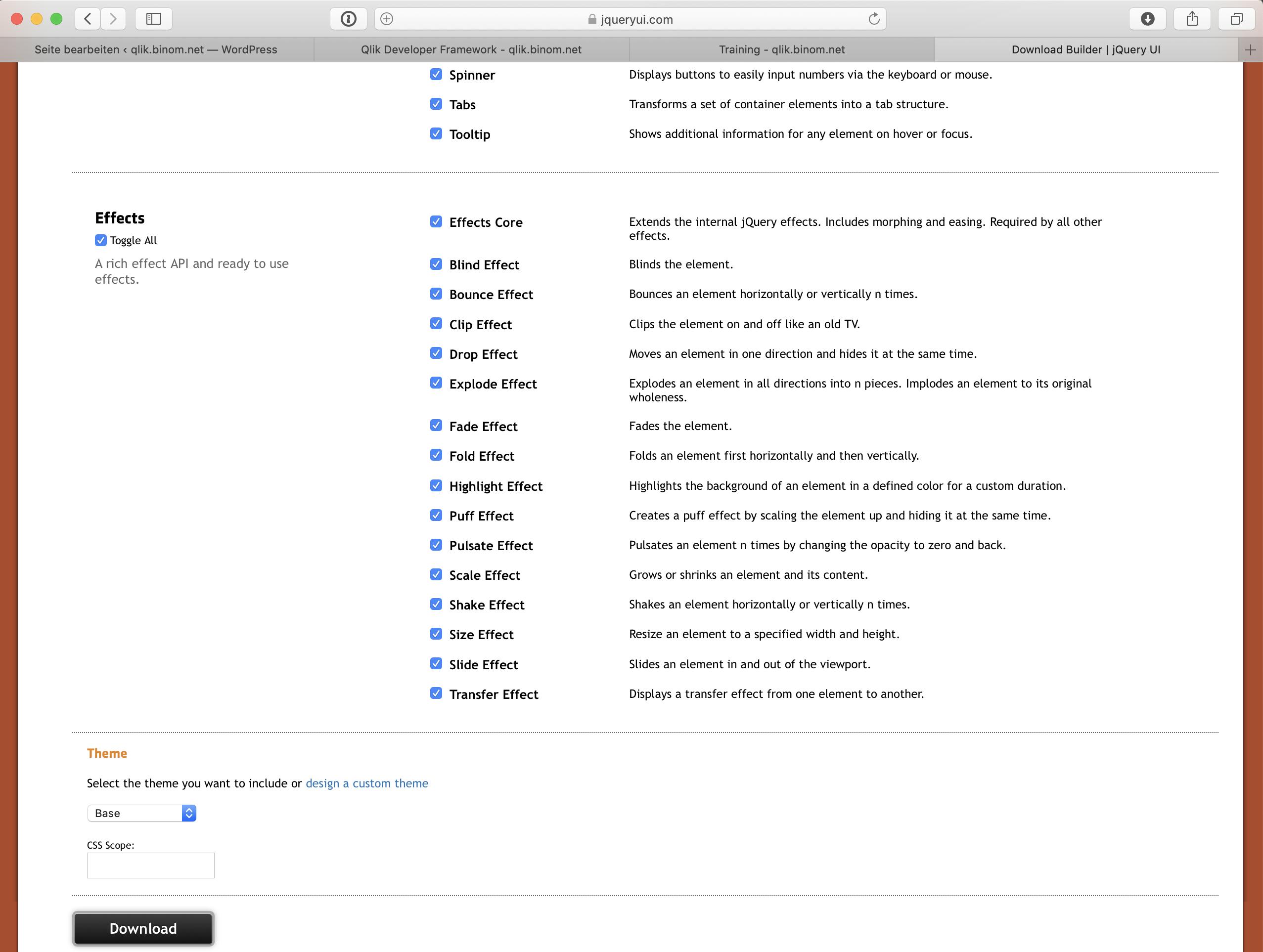 jQuery UI Komponenten einbinden   qlik.binom.net